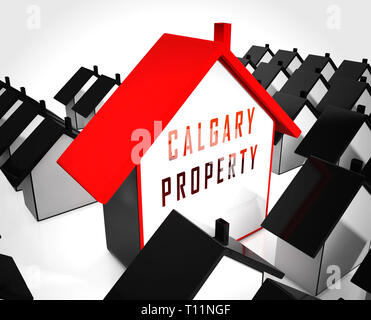 Calgary Real Estate Home Shows Property For Sale Or Rent In Alberta. Investment Agents Or Brokers Symbol 3d Illustration - Stock Image