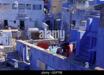 the blue city in the old town of Jodhpur in Rajasthan in India. - Stock Image