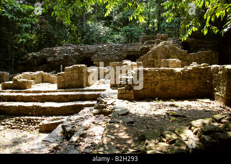 One of the Smaller Groups of Mayan Ruins on the Edge of the Jungle at Palenque Archeological Site, Chiapas State, - Stock Image