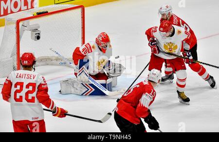 Bratislava, Slovakia. 19th May, 2019. L-R NIKITA ZAITSEV (RUS), ALEXANDAR GEORGIEV (RUS), GREGORY HOFMANN (SUI), NIKITA NESTEROV (RUS), TRISTAN SCHERWEY (SUI) in action during the match between Switzerland and Russia within the 2019 IIHF World Championship in Bratislava, Slovakia, on May 19, 2019. Credit: Vit Simanek/CTK Photo/Alamy Live News - Stock Image