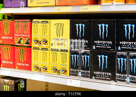 Monster energy drink on the shelves of a supermarket for sale in the UK. - Stock Image