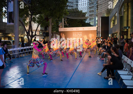 Children's Warming Up For A Performance Outside Lee Garden - Stock Image