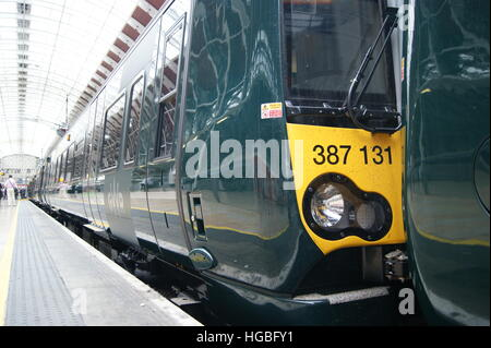 New Electrostar units No. 387131 and 387132 sit in London Paddington on 2nd September 2016 on display. - Stock Image