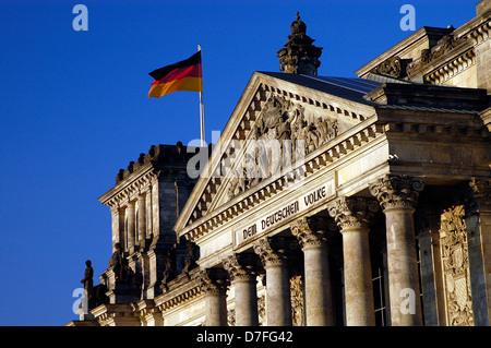 Europe, Germany, Berlin, Reichstag, German flag, to The German people - Stock Image