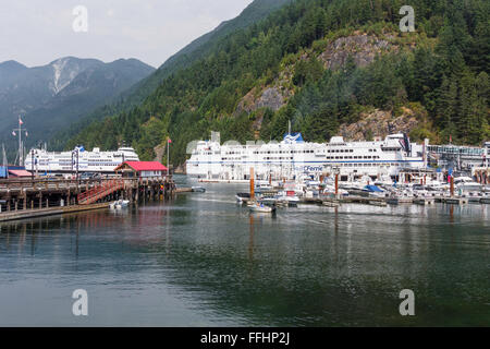BC Ferries vessel 'Queen of Oak Bay' (1981) at Horseshoe Bay, West Vancouver, BC, Canada. Another ferry - Stock Image