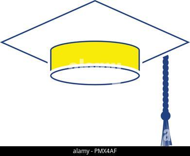 Icon of Graduation cap. Thin line design. Vector illustration. - Stock Image