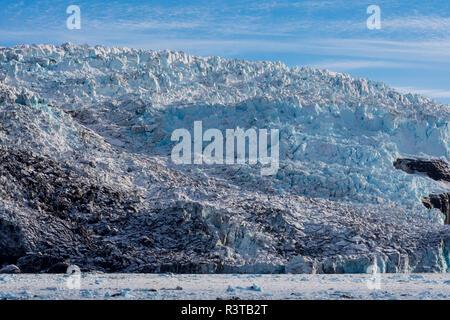 Greenland. Scoresby Sund. Gasefjord. Face of Magga Dan glacier. - Stock Image