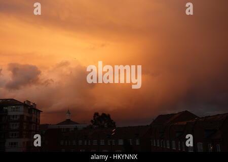 Sunset, Rotherhithe, London UK - Stock Image