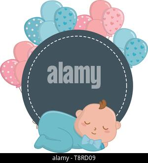 round frame with baby sleeping and with balloons vector illustration graphic design - Stock Image