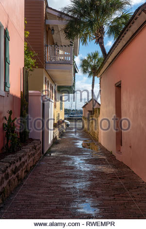 An old street next to the Hilton Historic Bayfront in the historic district of Saint Augustine, Florida USA - Stock Image