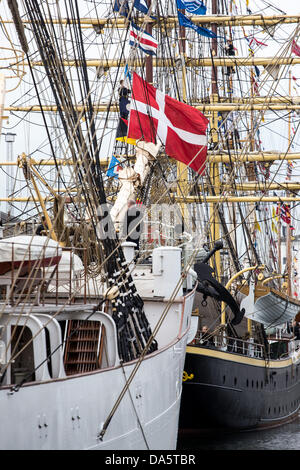 Aarhus, Denmark. 4th July, 2013. The Danish flag at 'Georg Stage' during The Tall Ships Races 2013 in Aarhus, - Stock Image