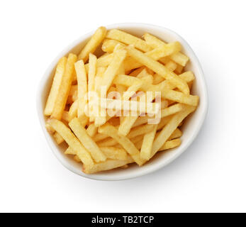 Top view of french fries  in ceramic bowl isolated on white - Stock Image