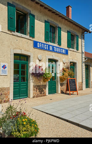 Lamastre, Ardeche,Rhone Alps,France and the tourist office located at the railway station. - Stock Image