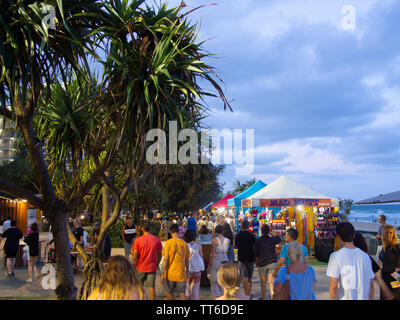 Crowd Of People At The Surfers Paradise Beachside Market - Stock Image