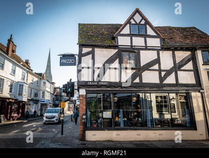 Salisbury, Wiltshire, UK. 30th January 2019. The Prezzo is now re-opened after closing for many months due to the Novichok attack on Sergei and Yulia Skripal. The streets of Salisbury are quieter than normal as the aftermath of the Novichok attacks affects visitor numbers. Credit: Thomas Faull/Alamy Live News - Stock Image