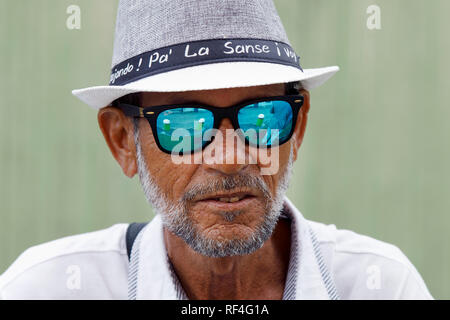 Man is hat and sun glasses, Old San Juan, Puerto Rico - Stock Image