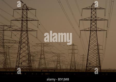 Electricity pylons Dubai - Stock Image
