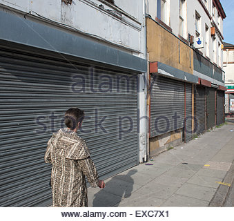 Closed and shuttered shops in Liverpool - Stock Image