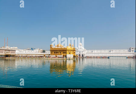 Golden Temple of Amritsar, pool and the Causeway (Sri Harmandir Sahib, Darbar Sahib), the holiest pilgrimage site of Sikhism, Amritsar, Punjab, India - Stock Image