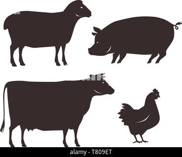Farm animals set. Farming, silhouette vector illustration - Stock Image