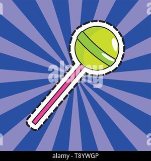 lollipop sticker over rays background pop art comic cartoon vector illustration - Stock Image