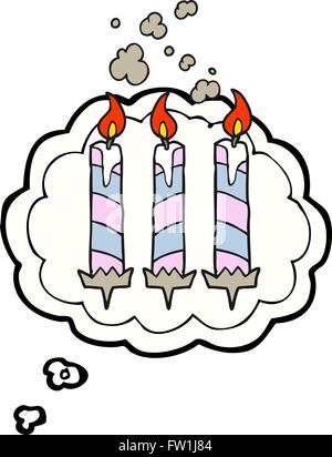 freehand drawn thought bubble cartoon birthday cake candles - Stock Image