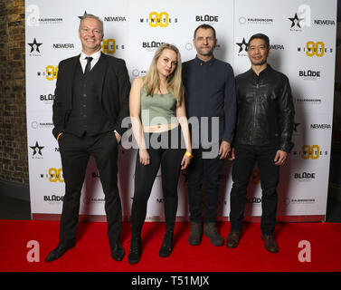 '90 Minutes' Launch Event hosted by executive producer Rio Ferdinand and director Simon Baker to celebrate the digital download and DVD release on 1 April  Featuring: Jessica Collins (L), Simon Weir, Leon Sua (R) Where: London, United Kingdom When: 19 Mar 2019 Credit: PinPep/WENN.com - Stock Image