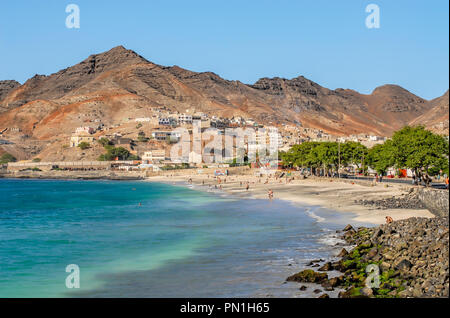 Beach of Mindelo the main city at Sao Vicente Island at Cape Verde Archipelago, West Africa - Stock Image