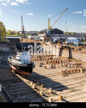Historic 18th Century Drydock, Suomenlinna, Helsinki, Finland - Stock Image