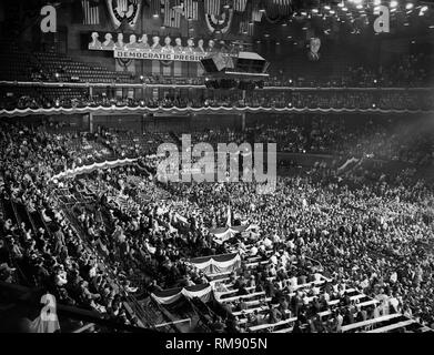 The floor of the 1944 Democratic National Convention at the Chicago Stadium is shown. - Stock Image