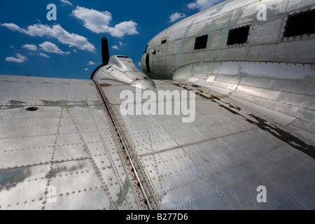 Derelict aircraft C-47 Skytrain of ex JRV in Otocac Croatia wing root section C47 - Stock Image