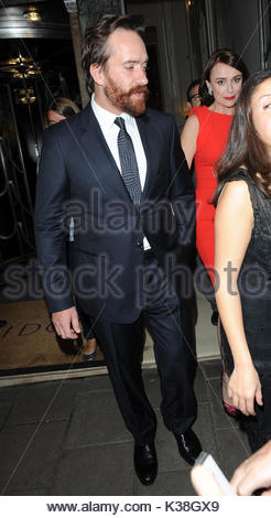 Keeley Hawes and Matthew Macfadyen. Cast of 'The Three Musketeers' leaving Claridges Hotel for the premeire, - Stock Image