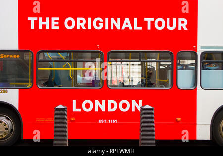 Traditional red London double Decker original  tour bus - Stock Image