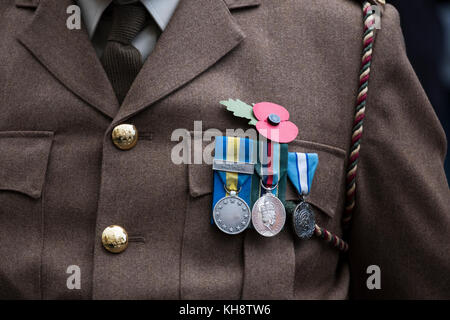Medals worn on army uniform at Remembrance parade - Stock Image