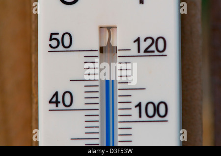 A temperature gauge showing 45c in Sydney Australia - Stock Image