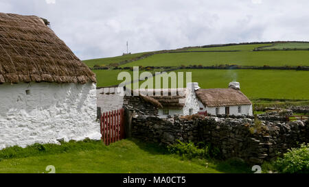 RS 8063  View towards Harry Kelly's Cottage, Cregneash, Isle of Man, UK - Stock Image