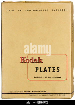 Photographic plates, here in glass, with light-sensitive silver emulsion, preceeded photographic film in cameras. - Stock Image