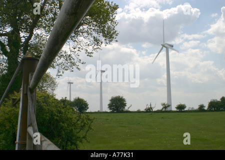 Wind turbines at a British windfarm at West Somerton Norfolk Broads East Anglia UK - Stock Image