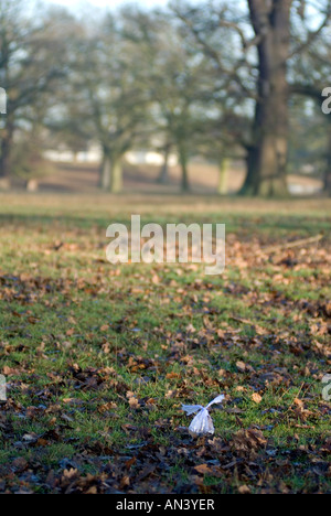 A plastic bag containing dog excrement left on a public footpath through Woburn Safari Park Bedfordshire England - Stock Image