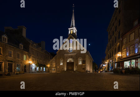 Notre-Dame-des-Victoires Catholic Church, completed in1723, Palace Royal in the lower town of Québec City is the oldest stone church in North America - Stock Image
