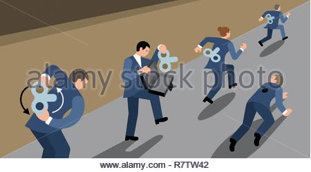 Clockwork business people competing in race - Stock Image