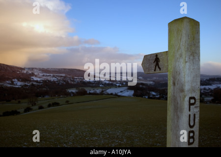 Walkers signpost in the Peak District National Park Derbyshire - Stock Image