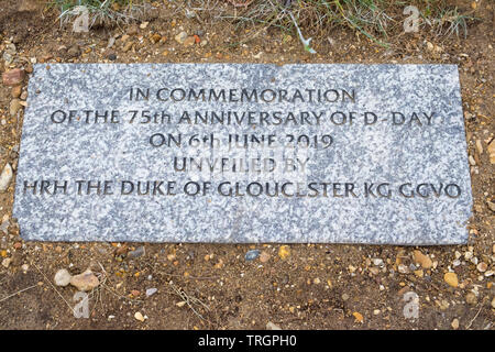Stone Commemorating the 75th Anniversary of D Day on June 6th 2019.  Unveiled by HRH The Duke of Gloucester KG GCVO - Stock Image
