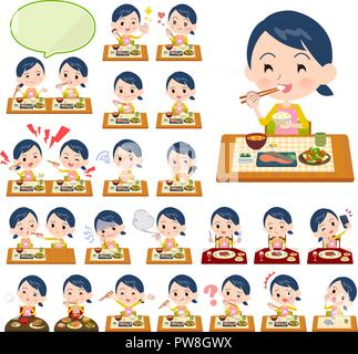 A set of Childminder women about meals.Japanese and Chinese cuisine, Western style dishes and so on.It's vector art so it's easy to edit. - Stock Image