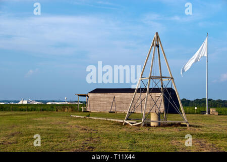 Reproduction of Wright Brothers 1905 hangar and catapult at Huffman Prairie Flying Field, Dayton, Ohio. - Stock Image