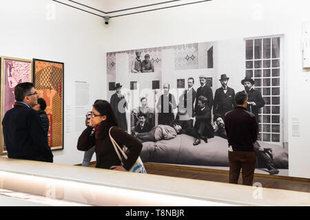 Vienna Leopold Museum, view of people looking at a photographic portrait of the founding Secession members inside the Leopold Museum, Vienna, Austria. - Stock Image
