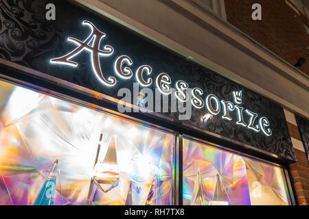 Accessorize,Store,Sign,Window Display - Stock Image