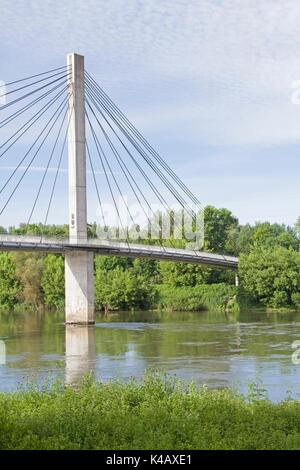 Suspension Bridge For Pedestrians Over A Branch Of The Danube Near Bad Abbach - Stock Image
