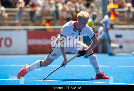 Krefeld, Germany, June 16 2019, hockey, men, FIH Pro League, Germany vs. Australia:  Nathalie Kubalski (Germany) hits the ball. - Stock Image