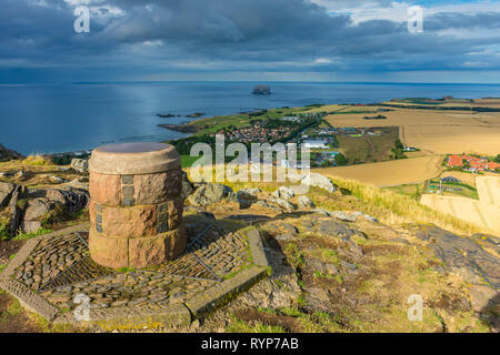 The toposcope (viewpoint indicator) on the summit of North Berwick Law, East Lothian, Scotland, UK - Stock Image